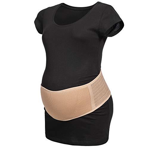 Herzmutter Bauchgurt Schwangerschaft - größenverstellbarer Schwangerschaftsgurt - Bauchgurt-Schwangerschafts-Stützgürtel-Bauchband - Gymnastik-Yoga-Sport - Beige-Schwarz - 3400 (L/XL, Beige)