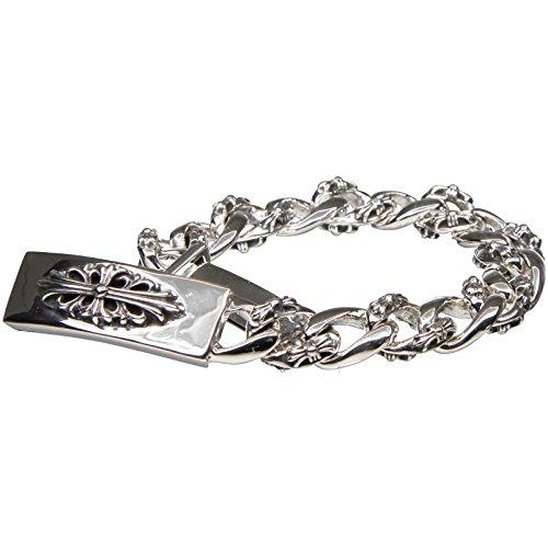 Bouddha to Light Argent Sterling Biker Cross bracelet massif Taille XL eie 649eur