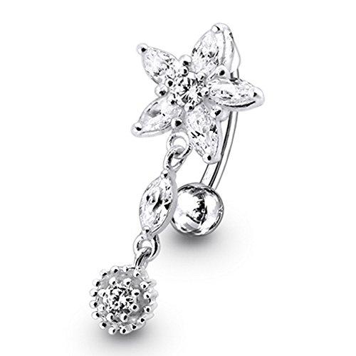 White Crystal Stein trendigen Flower Design Sterling Silber Bauch Bars Piercing (Bar Silber)
