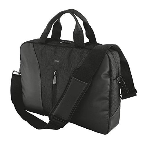 Trust Modena Slim Notebooktasche (geeignet für 40,6 cm Laptops (16 Zoll), inkl. Hauptfach und 8 Zubehörfachern) schwarz