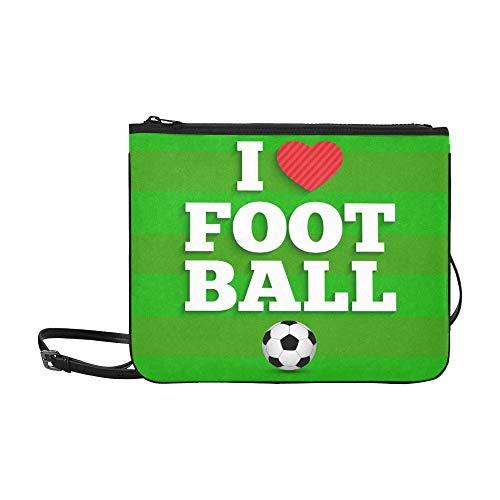AGIRL Liebe Fußball Sport Motivation Zitat Benutzerdefinierte hochwertige Nylon Slim Clutch Bag Cross-Body Bag Umhängetasche - Fußball Inspirierende