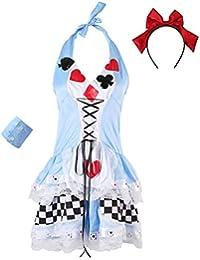 JNTworld Ladies Sexy Halloween Poker Maid Fantasie Kostüm Cosplay Partei Kleid