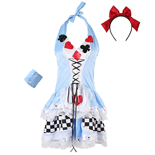 JNTworld Ladies Sexy Halloween Poker Maid Fantasie Kostüm Cosplay Partei Kleid,S,blau (Womens Butterfly Halloween Kostüme)