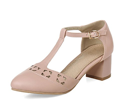 Aisun Damen Elegante T-Spange Loch Spitz Mittlerer Blockabsatz Fesselriemen Sandalen Pink