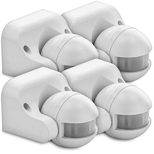 deleyCON 4X Infrarot Bewegungsmelder Aufputz Wandmontage Innen & Außen Spritzwassergeschützt Neigbar 180° Arbeitsfeld 12m Reichweite Weiß