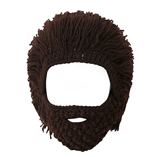 Lantra Besa Damen Herren Perücke Bart Mütze Lustige Strickmütze mit Haare für Skilaufen Karneval Halloween Cosplay Party EINWEG - Maskenbart, Braun