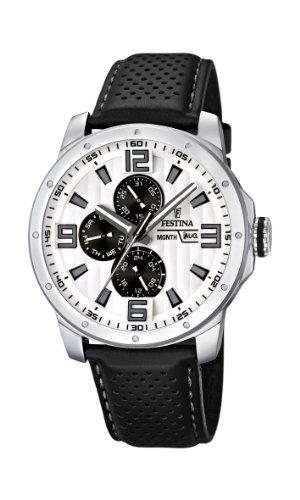 Festina Sport Multifunktion F16585/5 - Reloj analógico de Cuarzo para Hombre, Correa de Cuero Color Negro (Agujas luminiscentes)