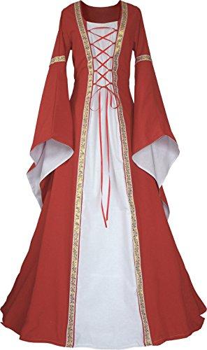 Dornbluth Damen Mittelalter Kleid Anna hell (32/34, Ziegelrot-Ecru)