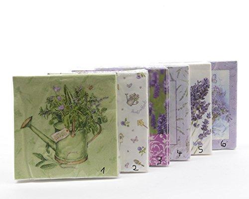 ivservietten Tischdeko Deko Frühling Lavendel 33 x 33 cm 6 Sortierungen (Lavendel Servietten)