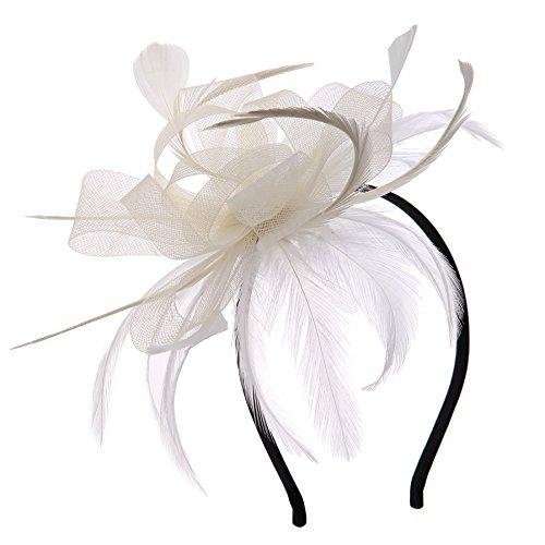 Vglook, Fascinator mit Feder-Blume, Kopfschmuck für Mädchen und -