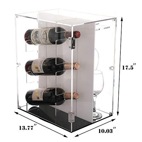 sooyee Deluxe Wein Aufbewahrung Rack Glas klar Acryl-Likör Schränke mit Halter, 3Flaschen Wein Halter und 7Glas Rack, staubfrei, Wein Display Box, 360Grad drehbar Basis -