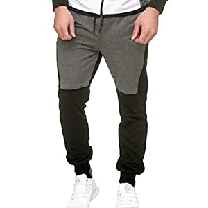 junkai Männer Fleece Bottoms Jogging Gym Laufhose Mit Taschen Casual Sweat Sporthose Jogginghose Trainingsanzug M-3XL