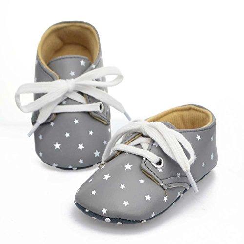 QHGstore Kinderschuhe Neugeborenes Baby-Stern-weiche Sohle unisex Rutsch drucken weiß 12cm blau