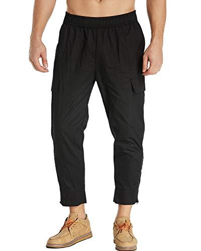 MODCHOK Herren Jogginghose mit Taschen, konisch, elastisch, Baumwolle - Schwarz - X-Groß - Pullover Knöchel-unterstützung