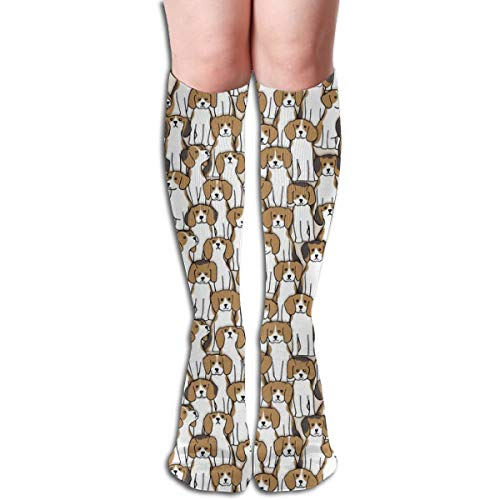 Stocking Beagles Multi Colorful Patterned Knee High Socks 19.6Inchs ()