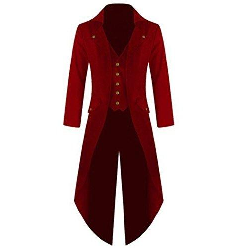teampunk Gothic Jacke Vintage Viktorianischen Langer Mantel Kostüm Cosplay Kostüm Smoking Jacke Uniform Rot M (Vintage-stil-halloween-kostüme)