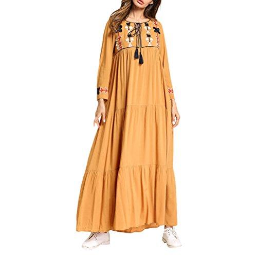 Zhhlaixing Elegante Mujer Musulmana Estilo étnico Abaya Kaftan Farasha Jalabiya Kimono Maxi Dubai Vestido Abra Robes