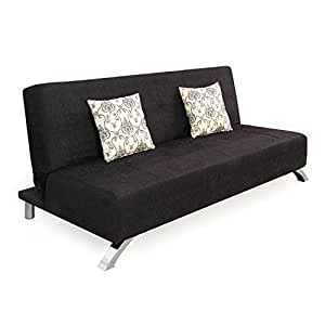 Forzza Laura Three Seater Sofa Cum Bed (Black)