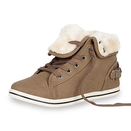 Warm Gefütterte Damen Sneakers Low Schnallen Zierknöpfe Schuhe Khaki Weiss