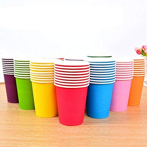 Neue 100 Teile/Los Einfarbig Pappbecher Einweg Geschirr Tasse Kinder Puzzle Handgemachten Materialien Spielzeug Geburtstagsfeier Dekoration (Color : Mix colors)