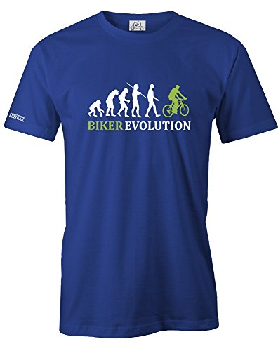 BIKER EVOLUTION - HERREN - T-SHIRT in Royalblau by Jayess Gr. XXL (Lustig Fahrrad)