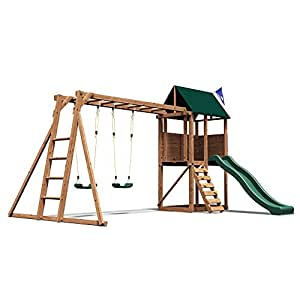 dunster house squirrelfort wooden children 39 s outdoor climbing frame play tower with monkey bars. Black Bedroom Furniture Sets. Home Design Ideas