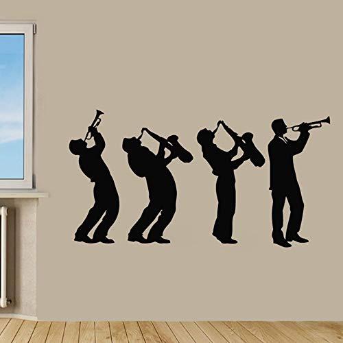 Meaosy Musiker Wandaufkleber Musik Gruppe Kunst Design Jungen Spielen Saxophon Wandtattoos Wohnkultur Wohnzimmer Kinder Schlafzimmer Decorat (Halloween-gruppe-spiele Für Kinder)