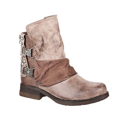 Elara Damen Stiefeletten | Bequeme Biker Boots | Metallic Print Nieten | Chunkyryan 5740 Khaki-40