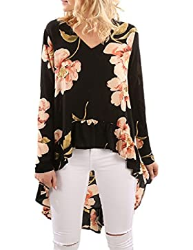 La Mujer Casual De Manga Larga Blusa De Estampado Floral High Low V Neck T Shirt Top Tee