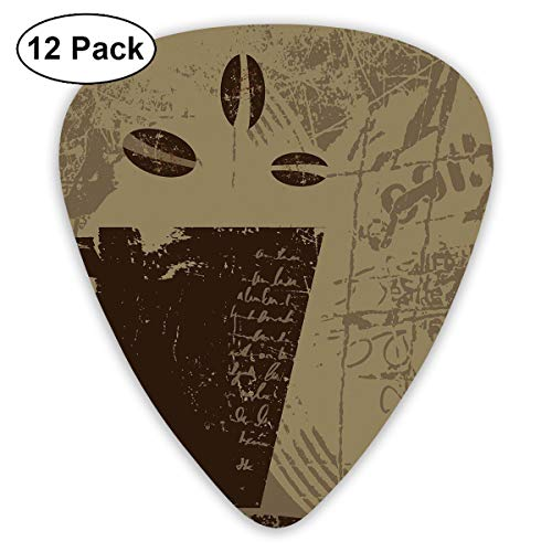 Guitar Picks12pcs Plectrum (0.46mm-0.96mm), Grunge Weathered Mug Silhouette With Aromatic Java Beans For Breakfast,For Your Guitar or Ukulele