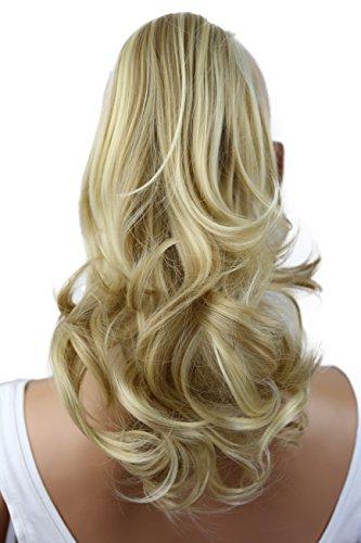 Prettyshop estensioni dei capelli di 35cm clip su ponytail parrucchino ondulato fibra sintetica resistente al calore miscela bionda # 24h613 h87