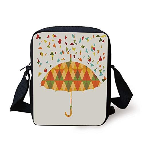 LULABE Geometric,Colored Triangles Like Raindrops Absract and Fashion Mosaic Umbrella Art Print,Multicolor Print Kids Crossbody Messenger Bag Purse