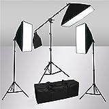 SAILUN® 60 x 60 cm Fotostudio Softbox Studioleuchte Set, mit 3 x 105W 5500K E27 Tageslicht Fotolampe und Galgenstativ Lampenstativ