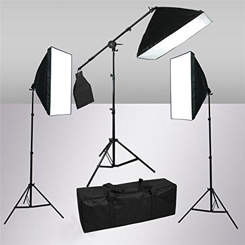 SAILUN 60 x 60 cm Fotostudio Softbox Studioleuchte Set, mit 3 x 105W 5500K E27 Tageslicht Fotolampe und Galgenstativ Lampenstativ