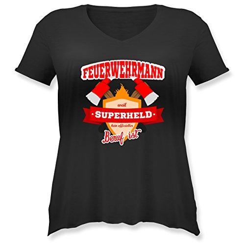 - Feuerwehrmann - Weil Superheld Kein Offizieller Beruf ist - S (44) - Schwarz - JHK603 - Weit Geschnittenes Damen Shirt in Großen Größen mit V-Ausschnitt (Plus-size-superhelden-t-shirts)