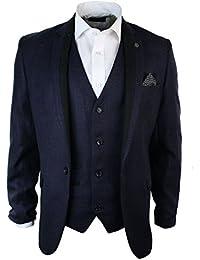 Giacca Aderente Elegante Da Uomo Blazer Vintage in Tweed Viola con Finiture  Nere a84702957ad