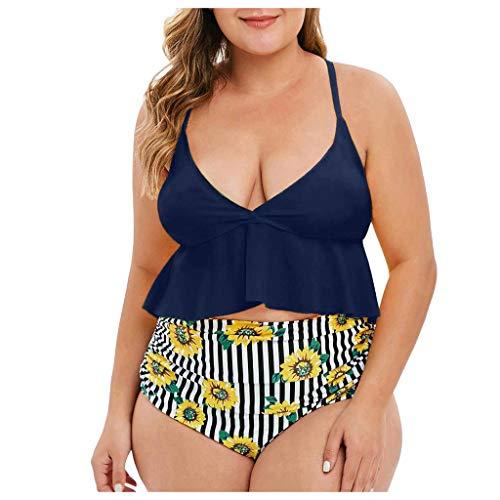 NPRADLA Damen Slip mit hoher Taille Gepolsterter Rüschen-BH Zweiteiler Badeanzug Top-Surfen Wassersport Monokini Badebekleidung Badeanzug Damen Bikini-Set