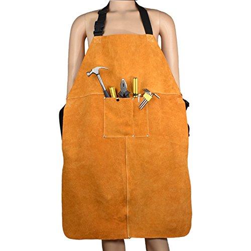 Delantal de soldadura de cuero de utilidad con 2 herramientas de bolsillo apto para hombres y mujeres de 60 x 89 cm (CYWQ05)