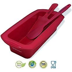 BACKHAUS FlexBake Molde rectangular de Silicona Premium Antiadherente y Espátula + Cuchillo de Pastel Gratis | Juego de Repostería 100% libres de BPA | 5 años de Garantia | Ø: 23cm | Rojo