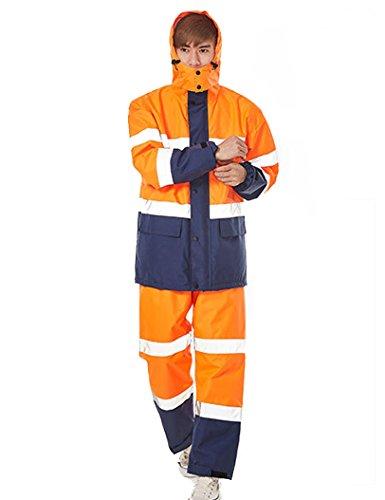Icegrey Uomo Hi Vis Completo Antipioggia Giacca e Pantalone Anti Pioggia Impermeabile Tuta Vis da Lavoro Riflettente Arancione Style 2XL