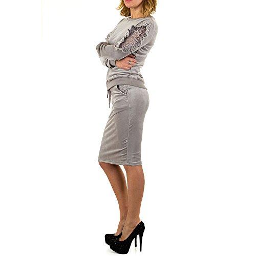 Schuhcity24 Damen Anzug Samt 2 Teiler Freizeitanzug Hose Sweatshirt Trainingsanzug Fitness Kleidung Grau M