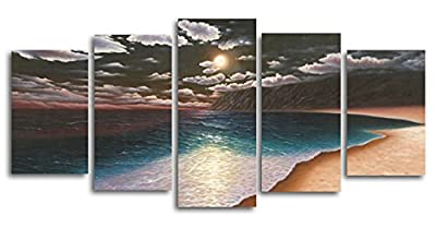 "Wieco Art - 5 Pieces ""The Yellow Beach"" Stretched and Framed Giclee Canvas Prints Modern Seascape Artwork Sea Beach Landscape Paintings Productions Printed on Canvas Wall Art Ready to Hang for Living Room Home Decoration - inexpensive UK light shop."