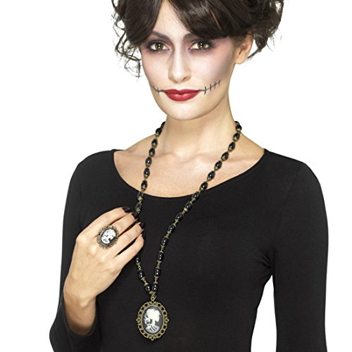 Amakando Cameo Ring und Halskette Halloweenschmuck La Catrina Sugar Skull Modeschmuck Totenkopf Anhänger Dia de los Muertos Kostüm Accessoire Tag der Toten Schmuck (Catrina De Dia Muertos Los Kostüm)