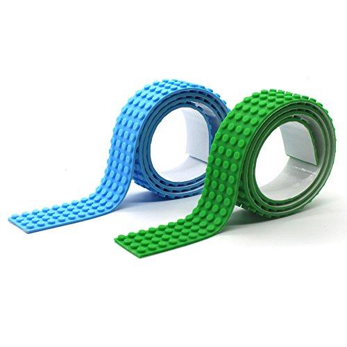 Plaque de base de bande adhésive de bloc de construction pour Classic Jeu de Construction La boîte de briques créatives LEGO (bleu clair + vert)