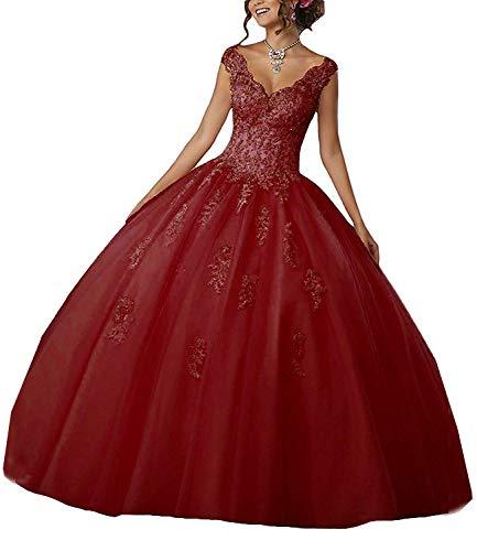 Burgund Quinceanera Kleid (Carnivalprom Damen V-Ausschnitt Quinceanera Kleider Mit Spitze Abendkleider Lang Hochzeitskleider Elegant Ballkleid(Burgund,32))
