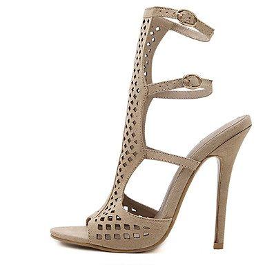 LvYuan sandali abito in pile scarpe club estivo tacco basso plaid Khaki