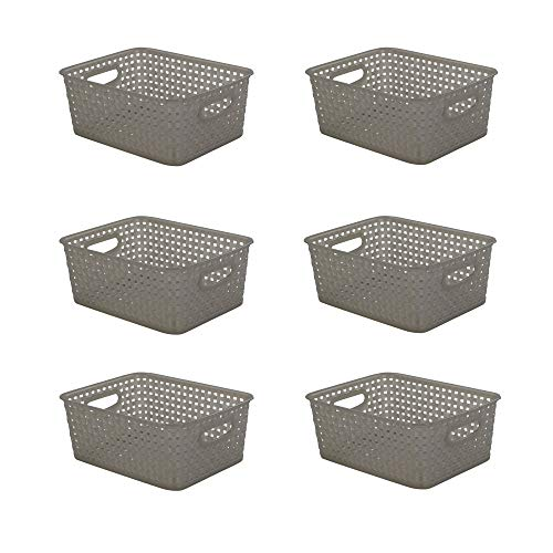 Lesbye Aufbewahrungskörbe aus plastik, Grau Haushaltskorb, 6 Stück Körbe Plastik Klein