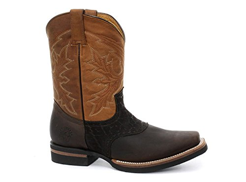 Grinders Unisex Hommes Femmes Frontier Marron Bronce Style Biker Cowboy Bottes occidentaux Western Bottes en cuir