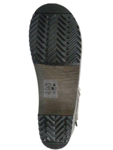 Buxa Unisex Holz und Leder Clogs/Pantoletten, Fersenriemen Schwarz