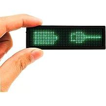 Porta Badge Elettronica Targhetta Ricaricabile Testo Programmabile Magnetico per Nome Mini Insegna Luminosa Nome Messaggio Scorrevole Cartello Informazioni Digitale Ideale per Ufficio ,Operaio, Biglietto da visita,Tag Badge Pubblicità Card,Verde